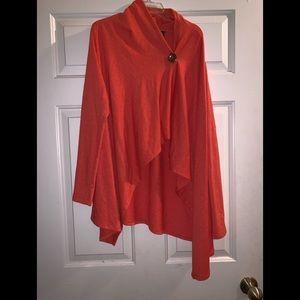 Orange open cardigan sweater L Bobeau
